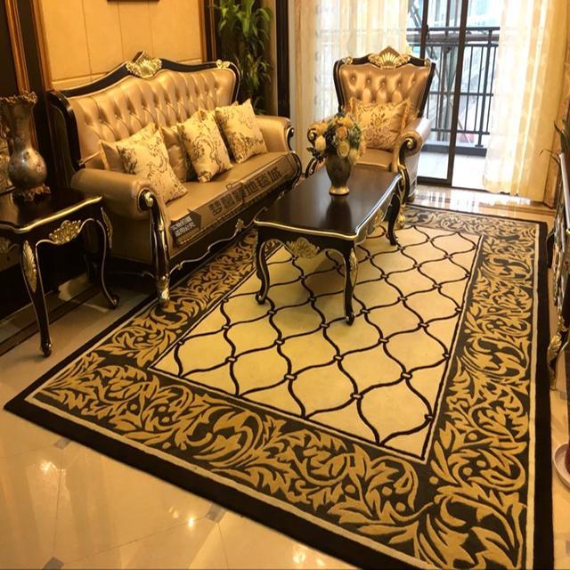 欧式美式奢华纯羊毛地毯客厅茶几垫沙发卧室家用加厚手工地毯