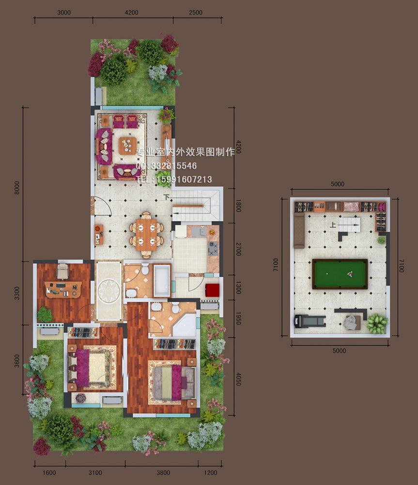 1228-郑州别墅平面户型图制作,渲染3d户型图_西安六方