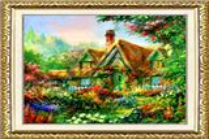 真丝织锦画《静密的花园》装饰画