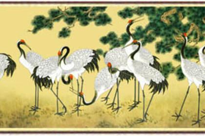 真丝织锦画《松龄鹤寿》