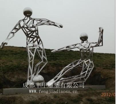 运动小品雕塑不锈钢镜面雕塑