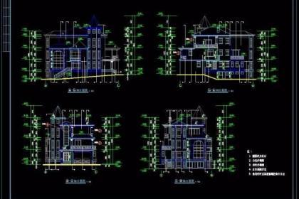 建筑施工图,建筑立面图,房屋建筑四个面平面图,房屋门窗平面图,楼梯